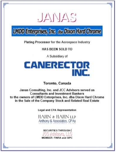 JCC Advisors LLC Managing Broker Dealer Canerector Inc Sale Canada